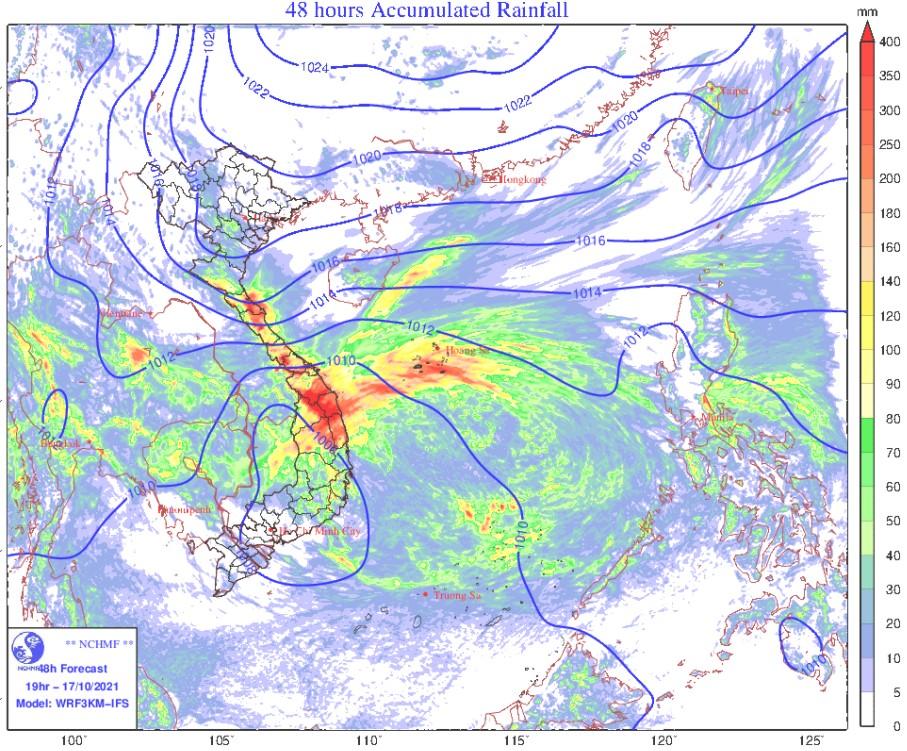 Tin cảnh báo mưa lớn ở Trung Bộ và Bắc Tây Nguyên từ ngày 16 - 18/10/2021