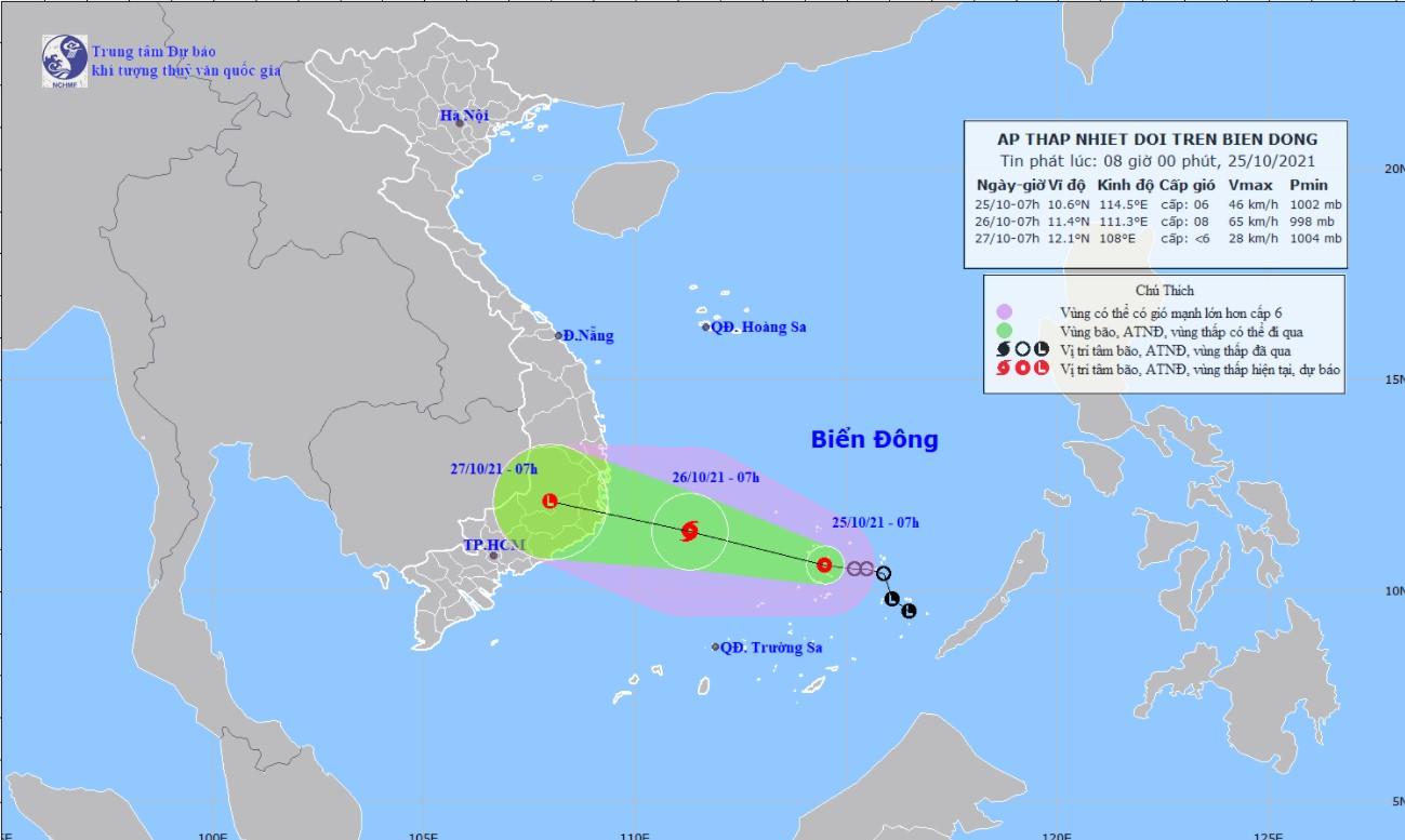 Áp thấp nhiệt đới đã bắt đầu ảnh hưởng đến khu vực từ Bình Định - Bình Thuận