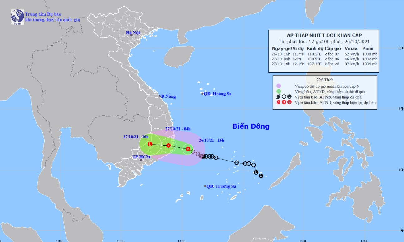 Áp thấp nhiệt đới sẽ đổ bộ vào Khánh Hoà và Bình Thuận vào rạng sáng mai 27/10