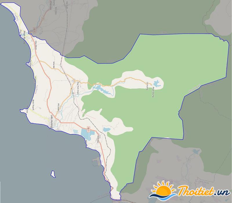 Bản đồ giao thông của huyện Tuy Phong