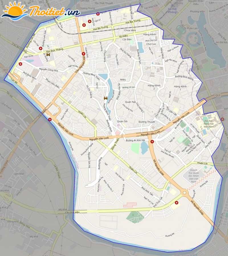 Bản đồ giao thông của quận Lê Chân