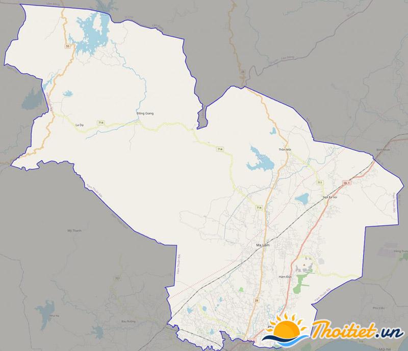 Bản đồ giao thông của huyện Hàm Thuận Bắc