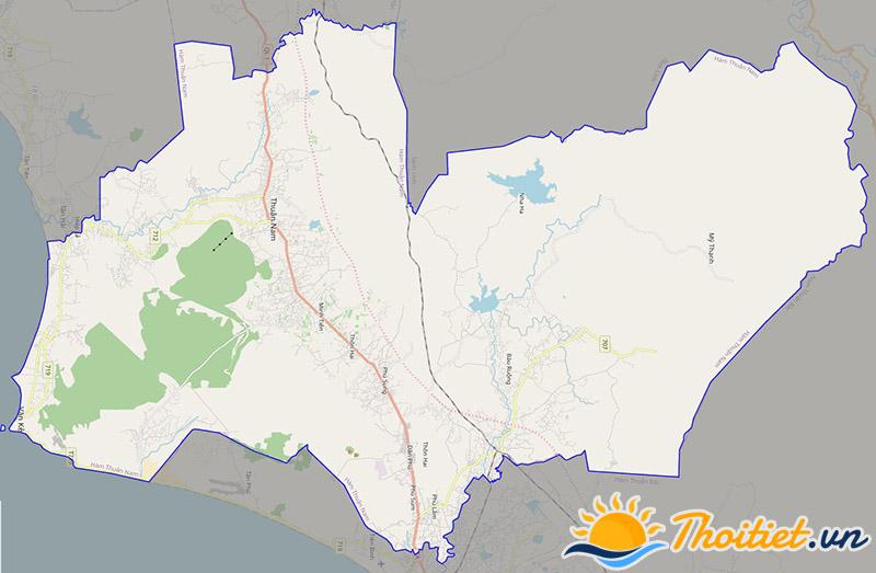 Bản đồ giao thông của huyện Hàm Thuận Nam