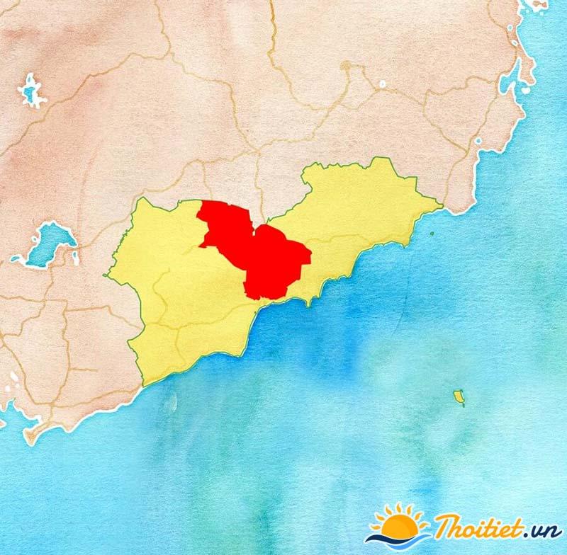 Bản đồ địa giới của huyện Hàm Thuận Bắc