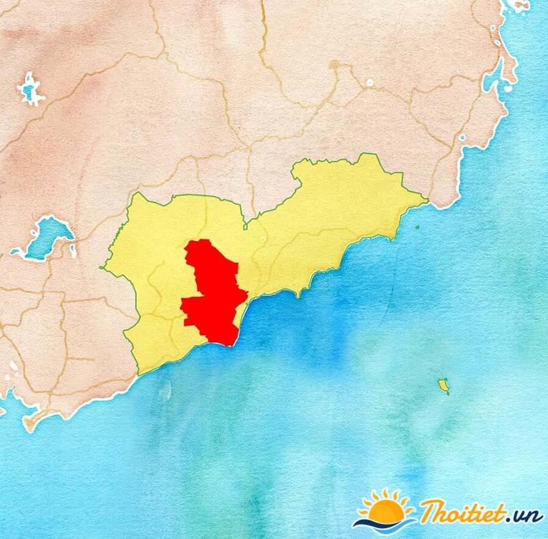 Bản đồ địa giới của huyện Hàm Thuận Nam
