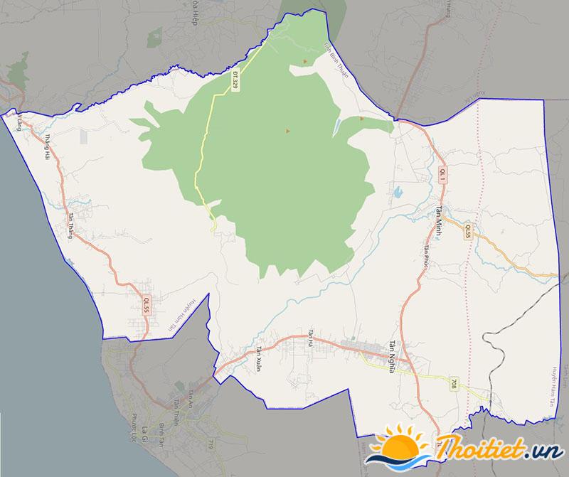 Bản đồ giao thông của huyện Hàm Tân