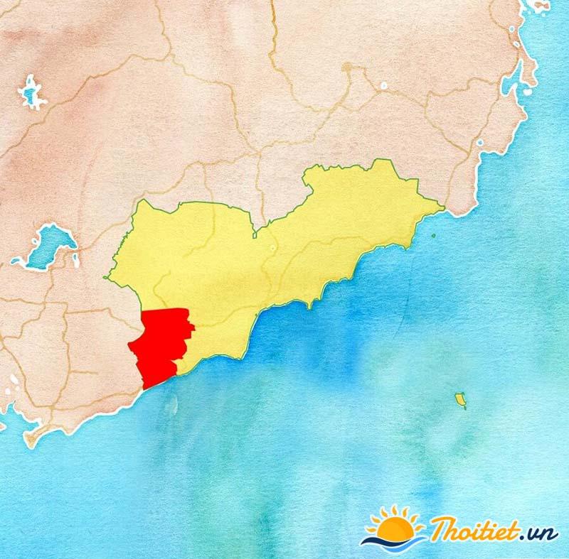 Bản đồ địa giới của huyện Hàm Tân