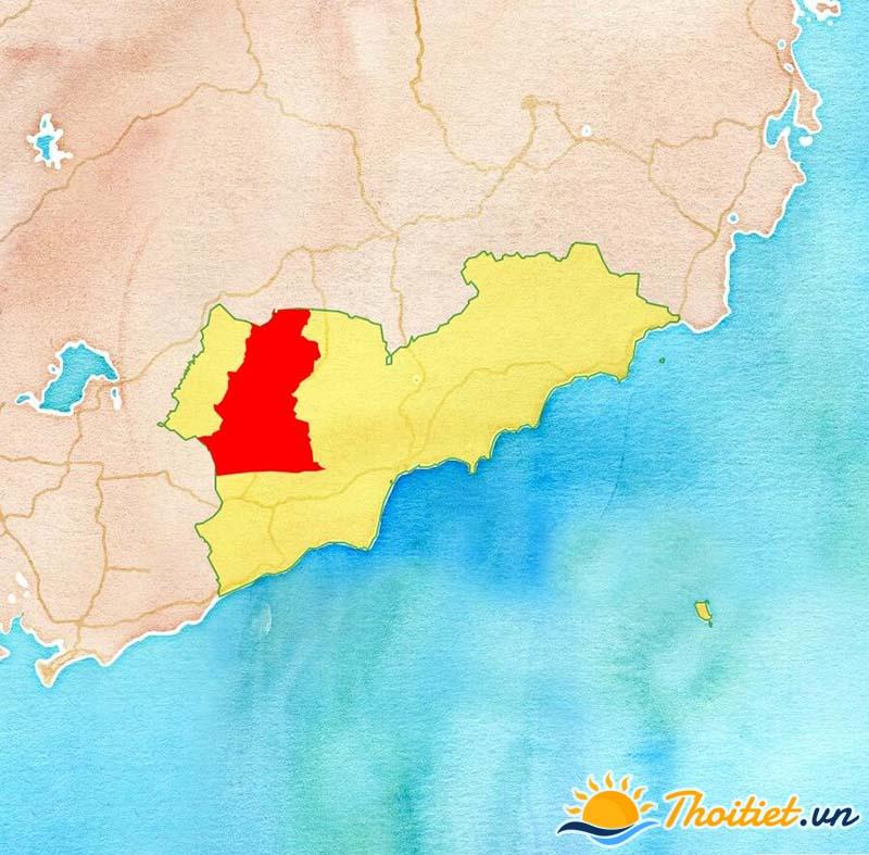 Bản đồ địa giới của huyện Tánh Linh